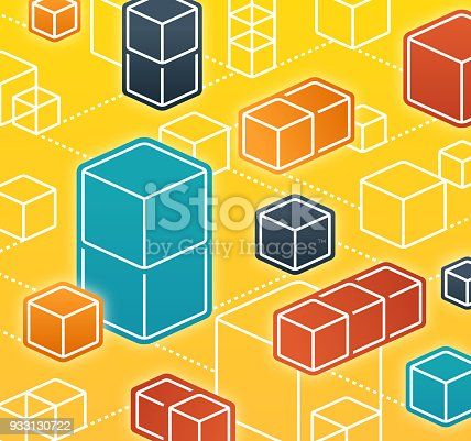 Abstract 3D cube blockchain background concept with space for your content.
