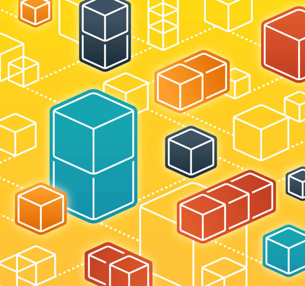 blockchain abstract cubes network - blocks stock illustrations, clip art, cartoons, & icons