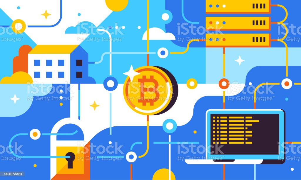 Blockchain and bitcoin mining technologies concept. New financial technology. Trendy flat vector illustration for banner, flyer, social media or print. vector art illustration