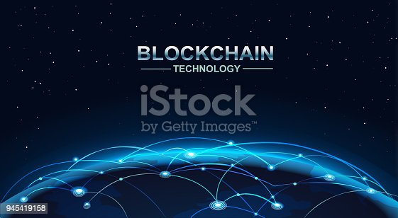 878855462istockphoto blockchain and bitcoin technology concept vector background. Big data, node, circuit networking above the planet Earth. 945419158