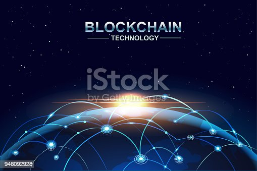 878855462istockphoto blockchain and bitcoin technology concept vector background. Big data, node, circuit networking above the planet Earth. 946092928