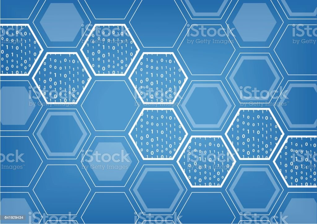 Blockchain blue vector background with hexagonal shaped pattern vector art illustration