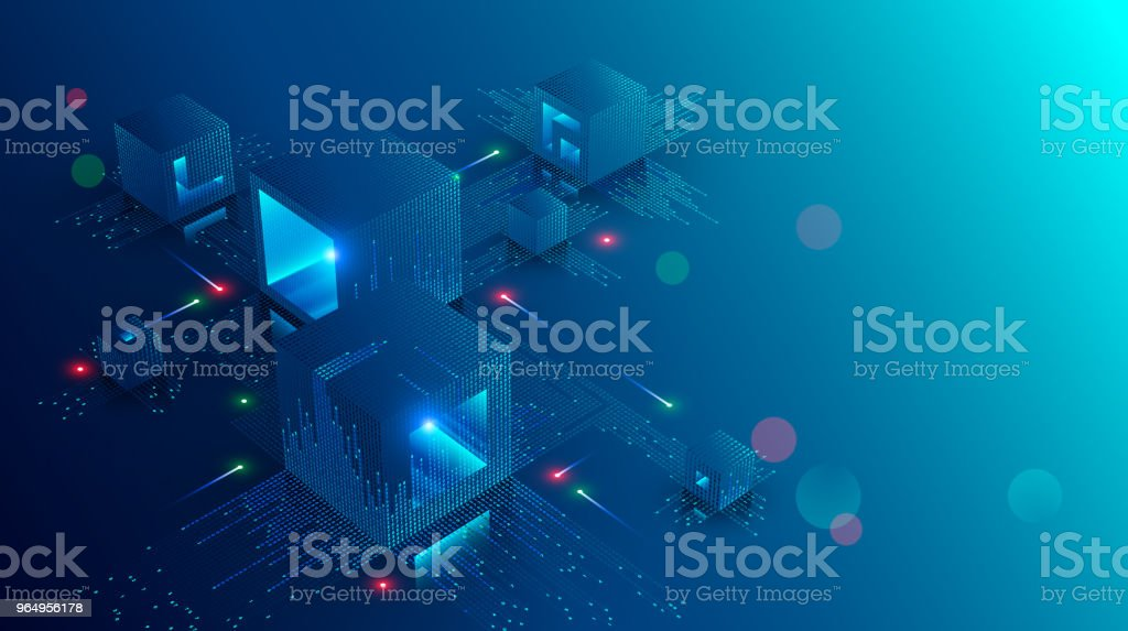 Blockchain concept banner. Isometric digital blocks connection with each other and shapes crypto chain. Blocks or cubes, connection consists digits. Abstract technology background. Vector illustration vector art illustration