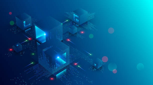 Blockchain concept banner. Isometric digital blocks connection with each other and shapes crypto chain. Blocks or cubes, connection consists digits. Abstract technology background. Vector illustration Blockchain concept banner. Isometric digital blocks connection with each other and shapes crypto chain. Blocks or cubes, connection consists digits. Abstract technology background. Vector illustration banking backgrounds stock illustrations