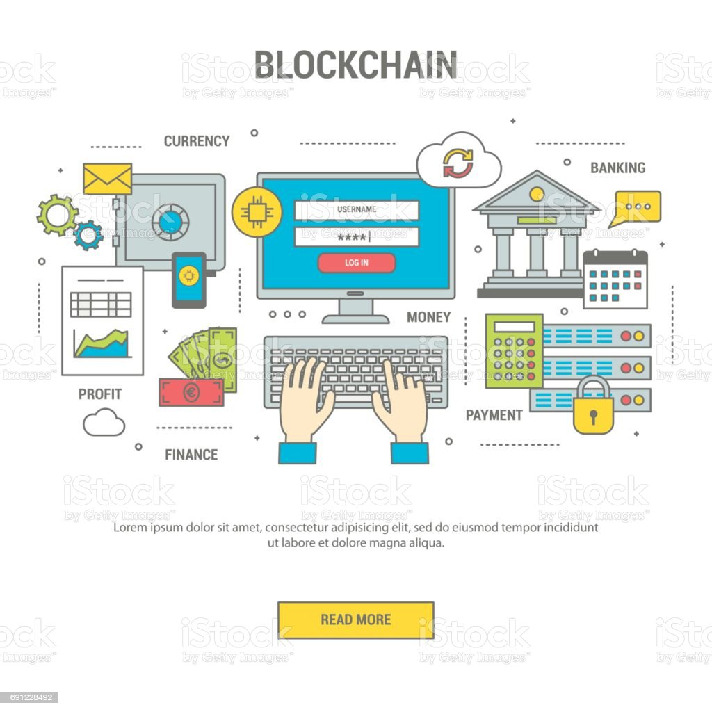 Blockchain concept finance banner with bitcoins vector art illustration