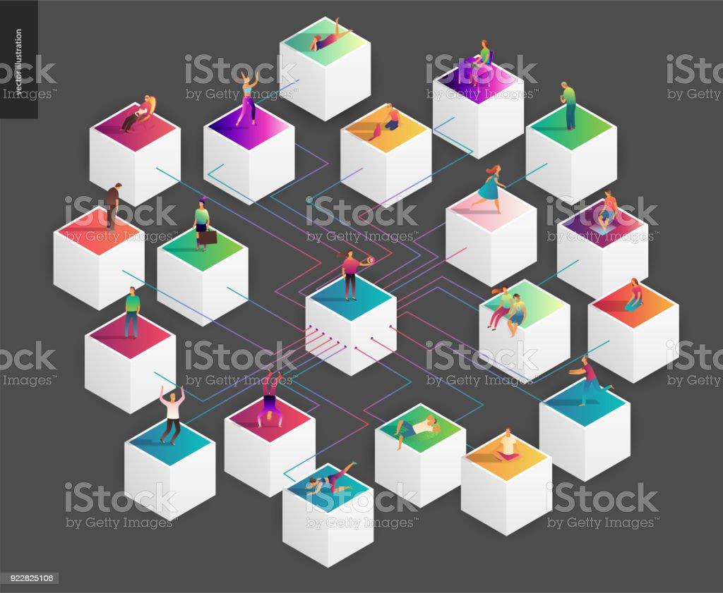 Blockchain concept vector illustration vector art illustration