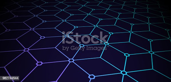 Seamless blockchain connected 3D cubes background.