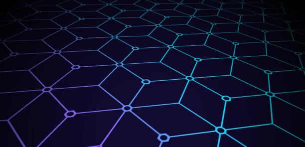 stockillustraties, clipart, cartoons en iconen met blockchain aangesloten gebouwd structuur naadloze patroon - blockchain