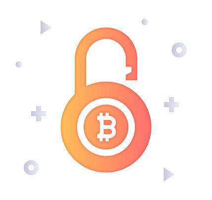 Blockchain Counterfeit Protection Gradient Color & Papercut Style Icon Design