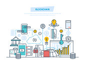 Blockchain, cryptocurrency, cloud technologies, safe transactions, bitcoins, finance, digital money market, crypto, analytics, monitoring via mobile application. Illustration thin line design.