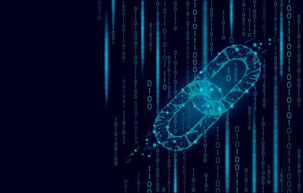 stockillustraties, clipart, cartoons en iconen met blockchain cryptocurrencies wereldwijd netwerk technologie e-commerce business management. link keten internet laag poly. veelhoekige geometrische deeltje. innovatie binaire code achtergrond vectorillustratie - blockchain