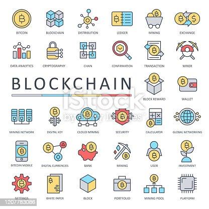 Blockchain Cryptocurrency Bitcoin Icon Set Color - Thin Line