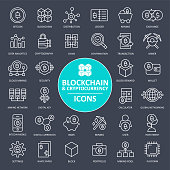 Blockchain Cryptocurrency Bitcoin Icon Set - Thin Line