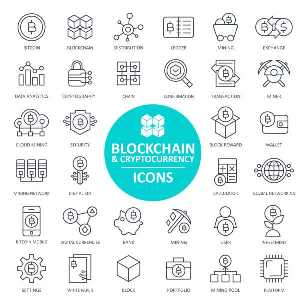 stockillustraties, clipart, cartoons en iconen met blockchain cryptocurrency bitcoin icon set - dunne lijn - blockchain