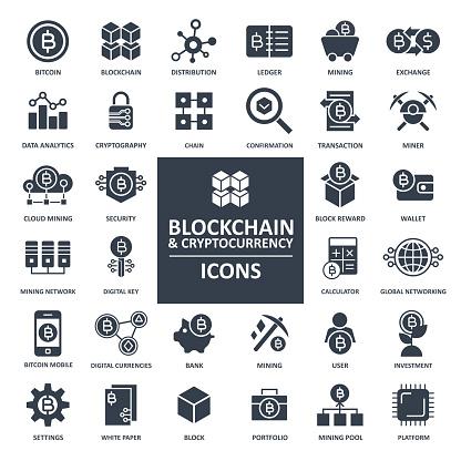 Blockchain Cryptocurrency Bitcoin Icon Set