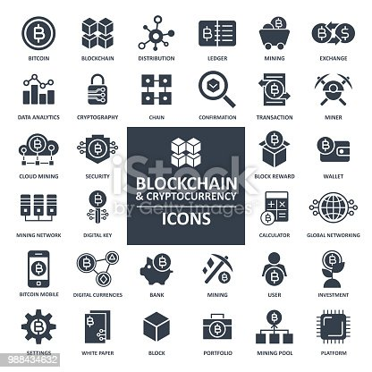 Blockchain Cryptocurrency Bitcoin Icon Set