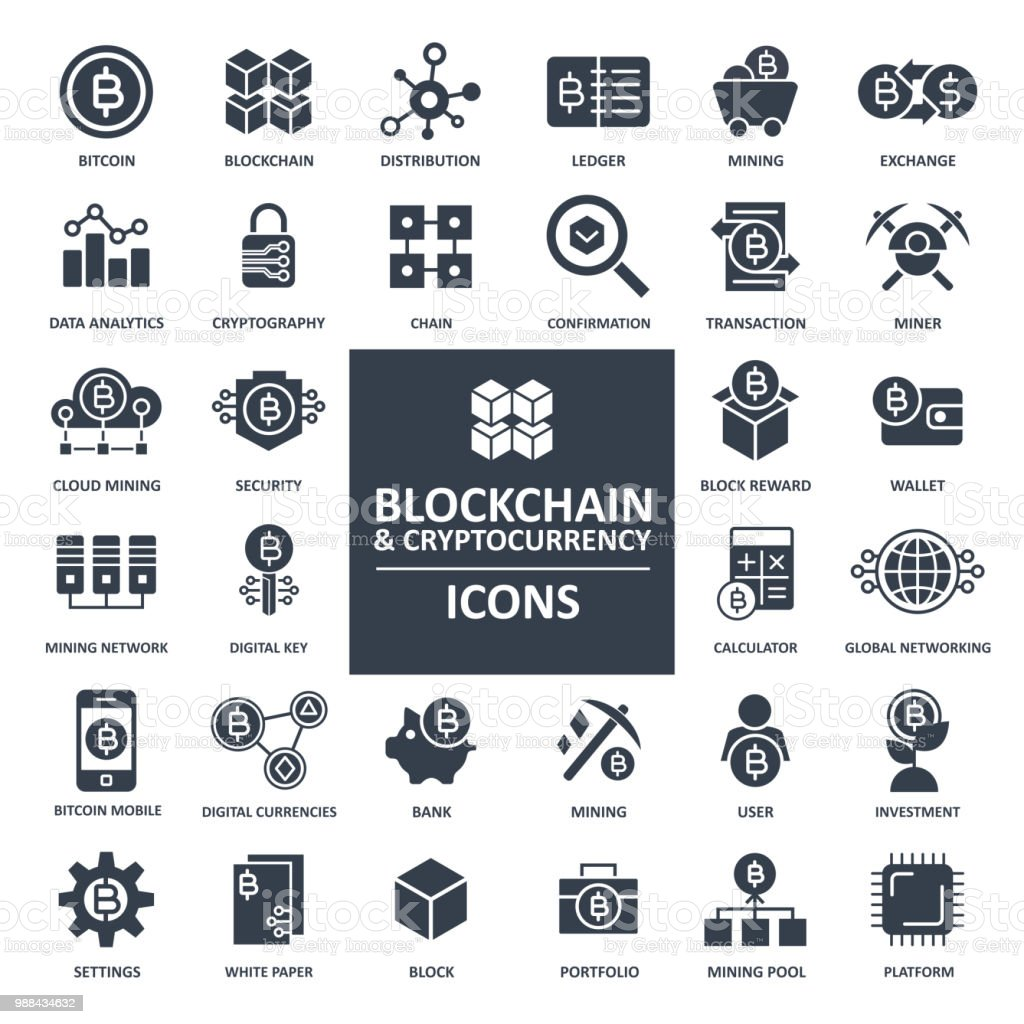 Blockchain Kryptowährung Bitcoin-Icon-Set – Vektorgrafik