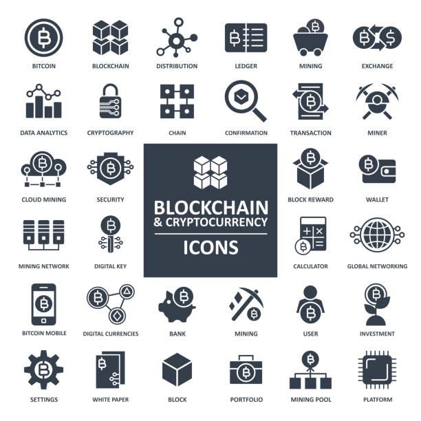 stockillustraties, clipart, cartoons en iconen met blockchain cryptocurrency bitcoin icon set - bitcoin