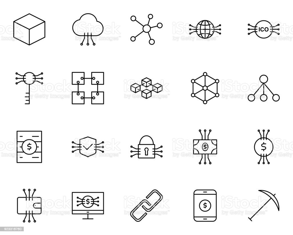 Blockchain, Cryptocurrency Line Icons Set. Vector Simple Minimal 96x96 Pictograms vector art illustration