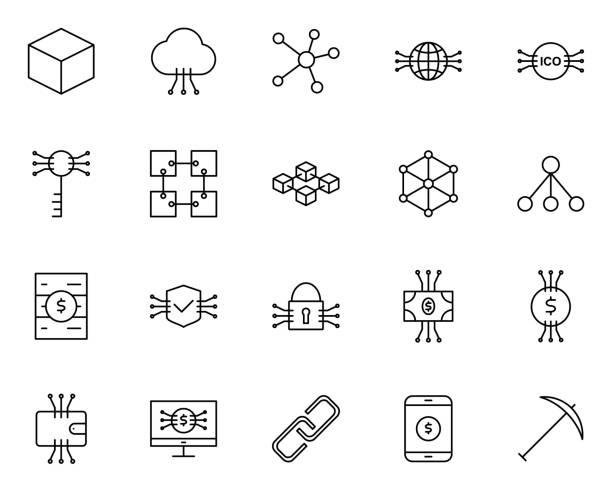 stockillustraties, clipart, cartoons en iconen met blockchain, cryptocurrency lijn icons set. vector eenvoudige minimaal 96 x 96 pictogrammen - blockchain