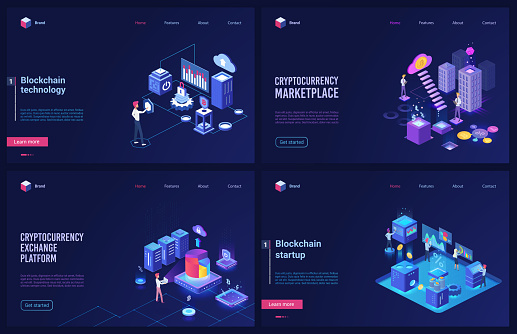 Blockchain cryptocurrency marketplace technology isometric vector illustration set with cryptocoin platform startup, stock exchange for digital money