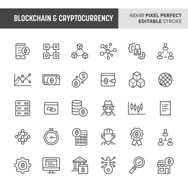 stockillustraties, clipart, cartoons en iconen met blockchain & cryptocurrency vector icon set - blockchain