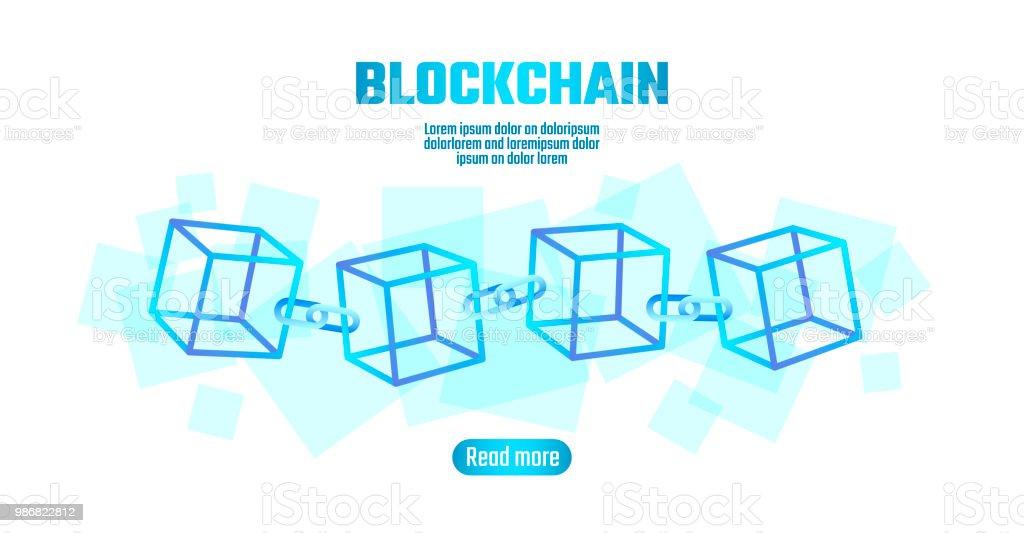 Blockchain Cube Chain Symbol On Square Code Big Data Flow