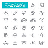 Cryptocurrency and Blockchain, Bitcoin, Data, Mining, Cloud Computing Editable Stroke Icon Set