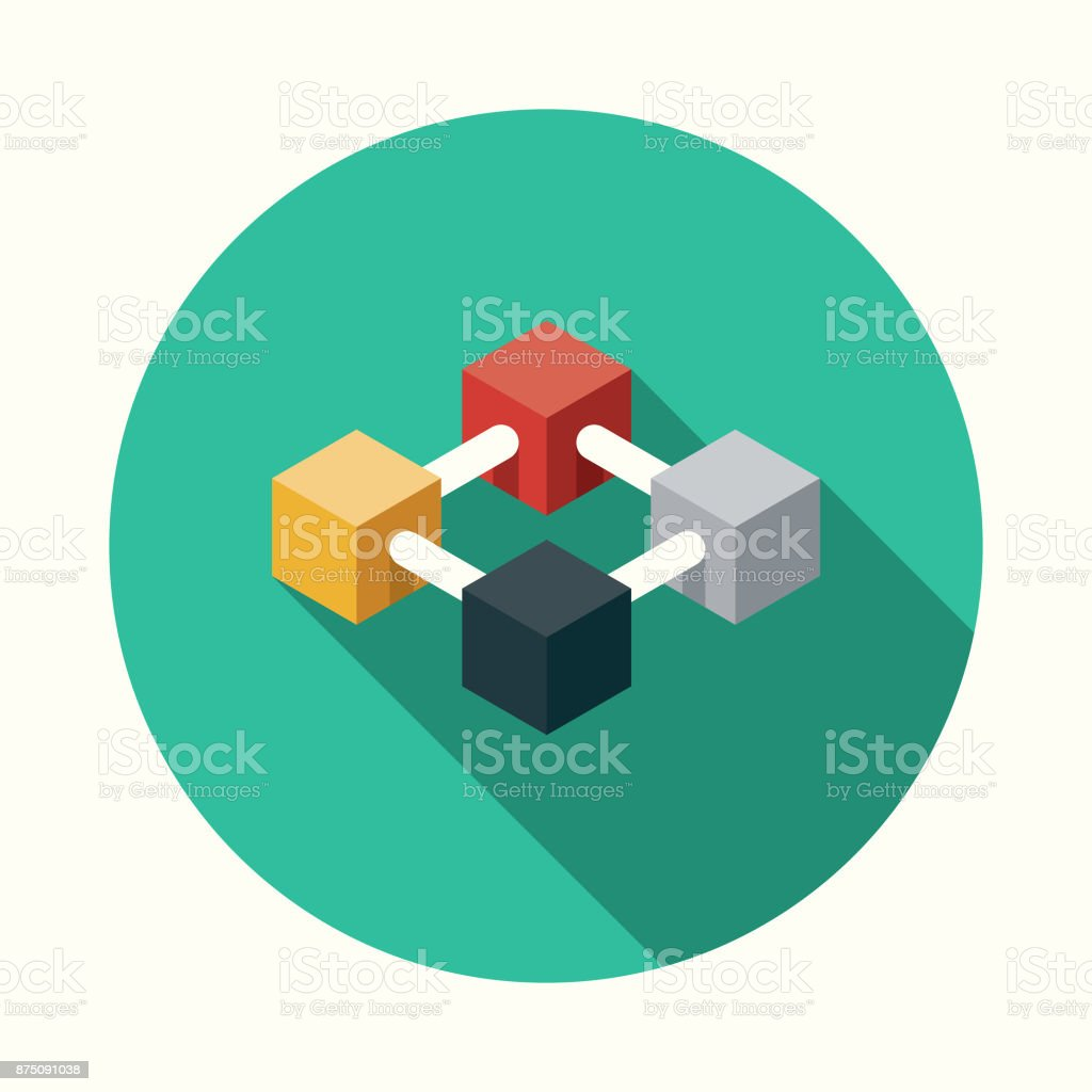 Blockchain Flat Design Business Icon with Side Shadow vector art illustration