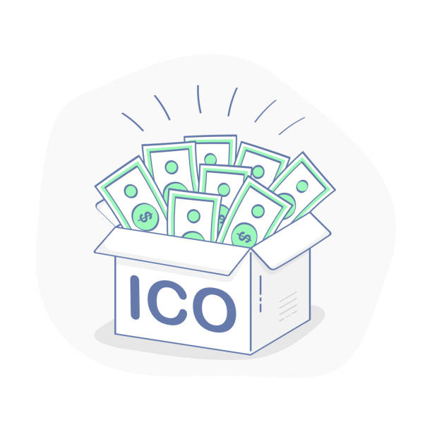 Blockchain ICO, Initial Coin Offering startup - Vector Illustration Blockchain ICO, Initial Coin Offering startup vector illustration. IT startup crowdfunding. Full Cardboard box with cash, successful ICO! Outline vector illustration icon concept. initial coin offering stock illustrations