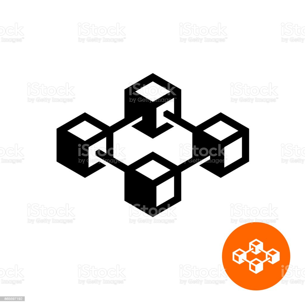 Blockchain icon. Block chain technology symbol. vector art illustration