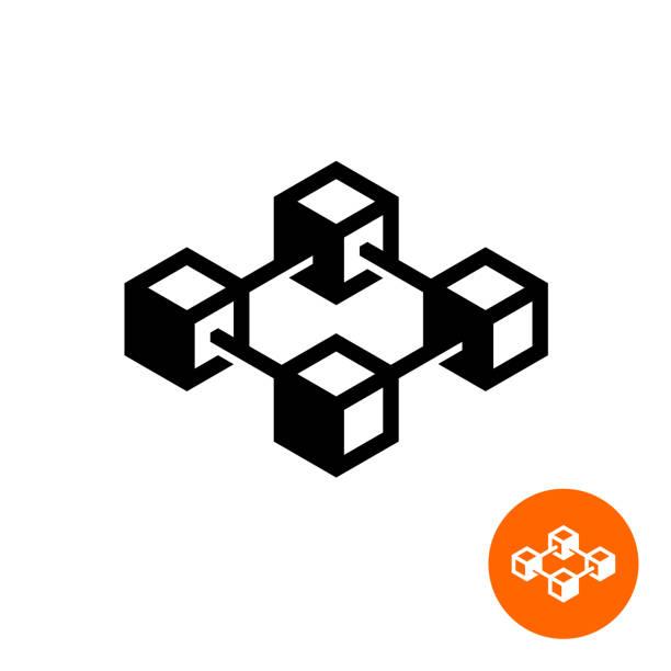 stockillustraties, clipart, cartoons en iconen met het pictogram van de blockchain. blok keten technologie symbool. - blockchain
