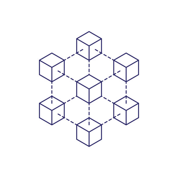 Blockchain icon concept on white background. Cryptocurrency data sign design vector illustration Blockchain icon concept on white background. Cryptocurrency data sign design vector illustration cube stock illustrations