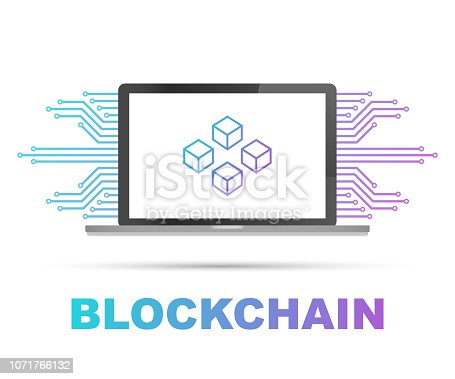 Blockchain icon on laptop screen, connected cubes on the display. Symbol of database, data center, crypto template, cryptocurrency and blockchain. Vector stock illustration.