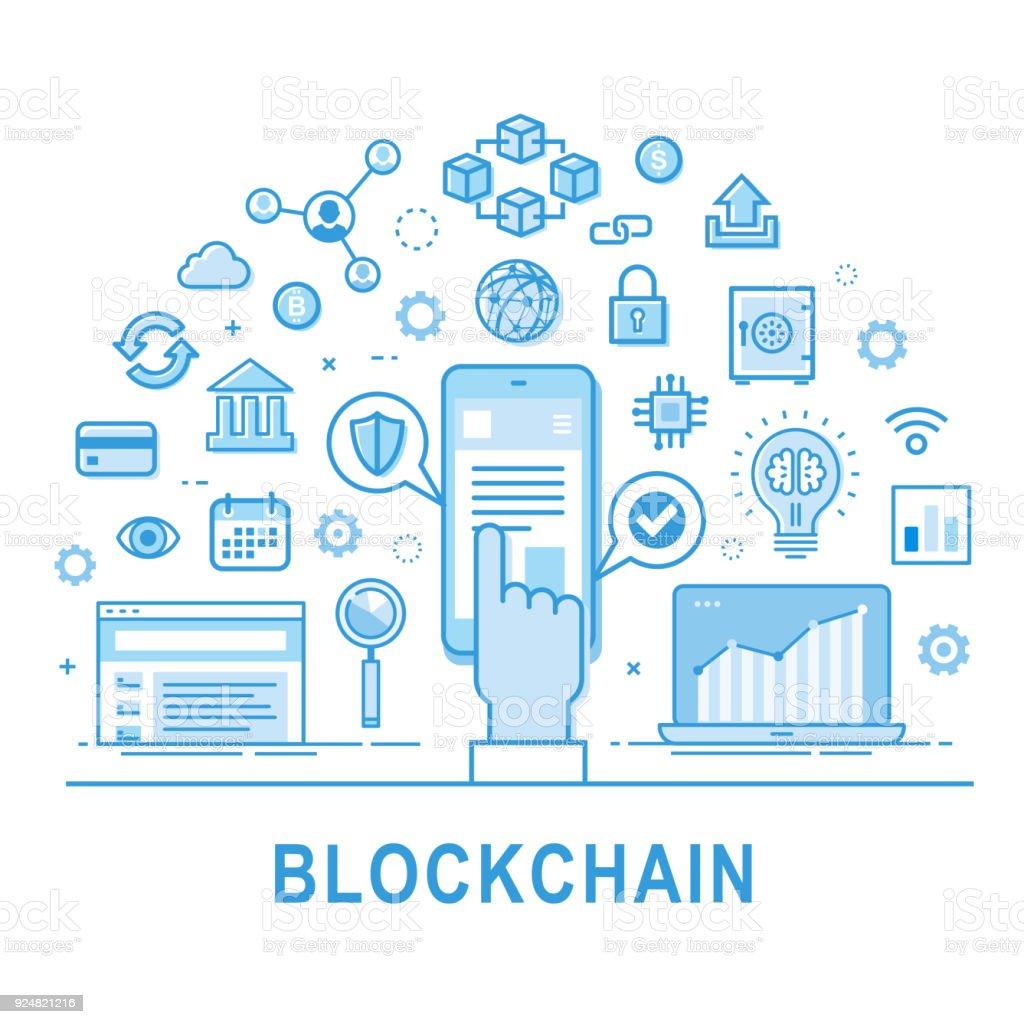 Blockchain icon set. Vector illustration. vector art illustration