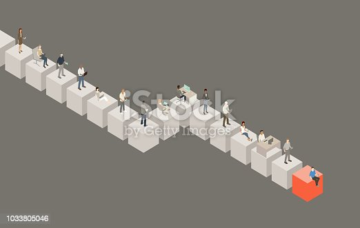 People using technology devices stand on giant cubes in this illustration. These cubes form a growing blockchain.