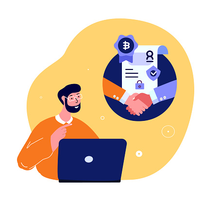 Blockchain Innovation Technology Agreement.Businessman Freelancer.Cryptocurrency Bitcoin Smart Blockchain Conctract. Online Digital Cryptocurrency. Start up High Technologies. Flat vector illustration