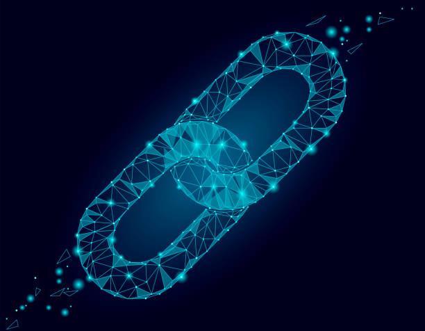 stockillustraties, clipart, cartoons en iconen met blockchain koppeling teken laag poly ontwerp. internet technologie keten pictogram driehoek veelhoekige hyperlink zakelijke netwerk veiligheidsconcept. blauwe futuristische stijl draad aangesloten punt vectorillustratie - schakel