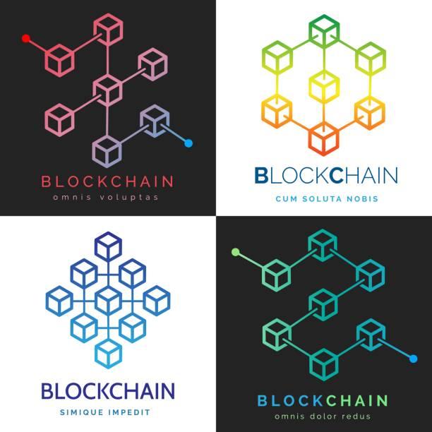 stockillustraties, clipart, cartoons en iconen met blockchain logo set - blockchain