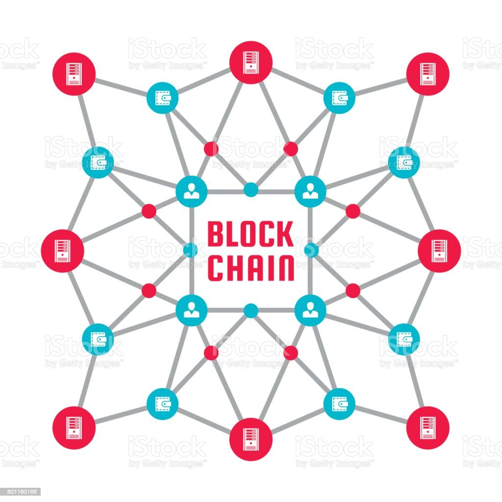 Blockchain network computer technology - creative vector concept illustration. Abstract banner layout graphic design. vector art illustration