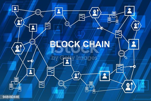 878855462istockphoto Blockchain network concept , Distributed ledger technology , Miner, key, Security, Block chain text and computer connection with blue digital background 948460446
