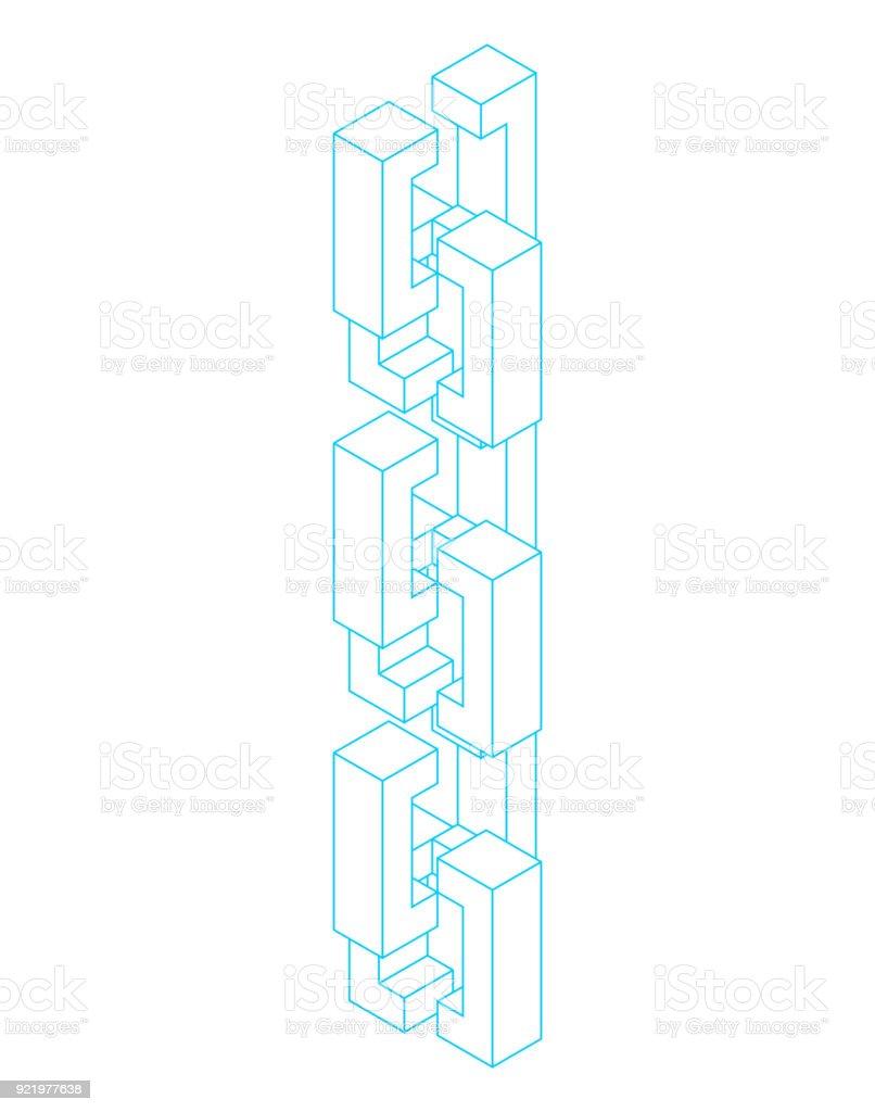 Blockchain Netzwerk isoliert. Cyber-Konzept-Matrix. Block-Kette-Vektor-illustration – Vektorgrafik