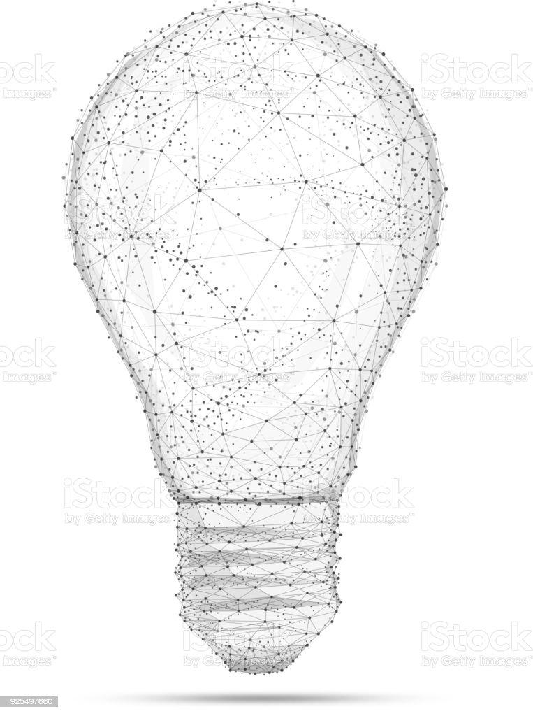 Blockchain polygon idea light bulb isolated on white vector art illustration
