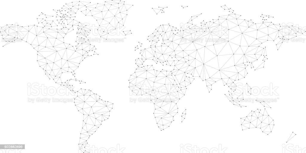 Blockchain polygon network world map isolated on white vector art illustration