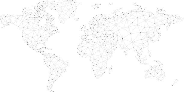 blockchain 多邊形網路世界地圖在白色被隔絕 - 國際比賽 幅插畫檔、美工圖案、卡通及圖標