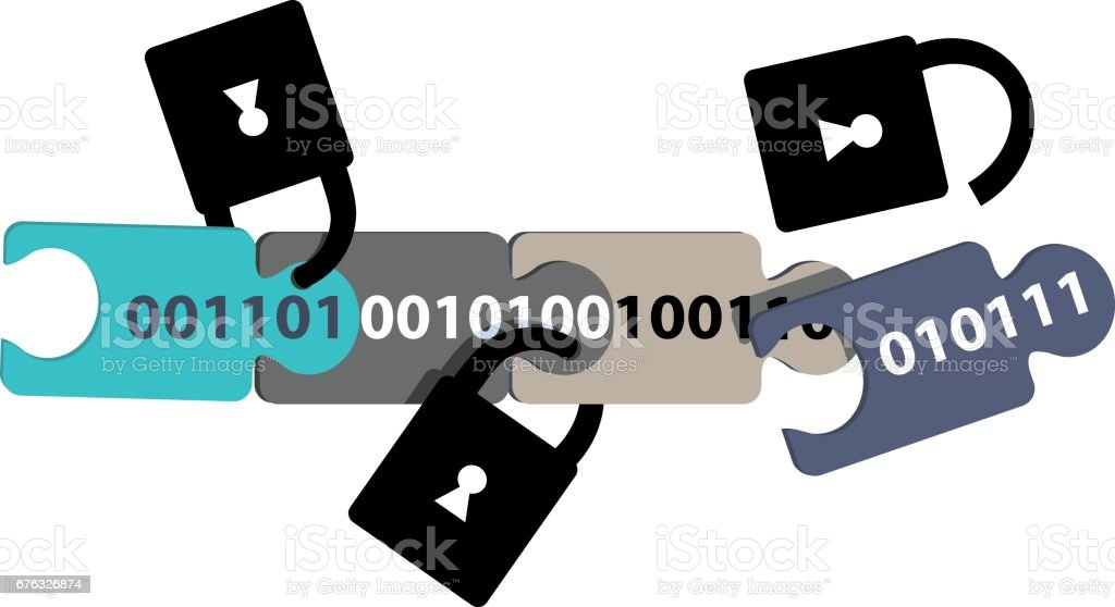 Blockchain security vector art illustration