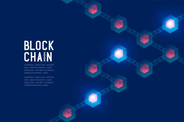 stockillustraties, clipart, cartoons en iconen met blockchain technologie 3d isometrische virtueel, systeem online concept ontwerp illustratie geïsoleerd op donker blauwe achtergrond en tekst van de blockchain met kopie ruimte, vector eps-10 - blockchain