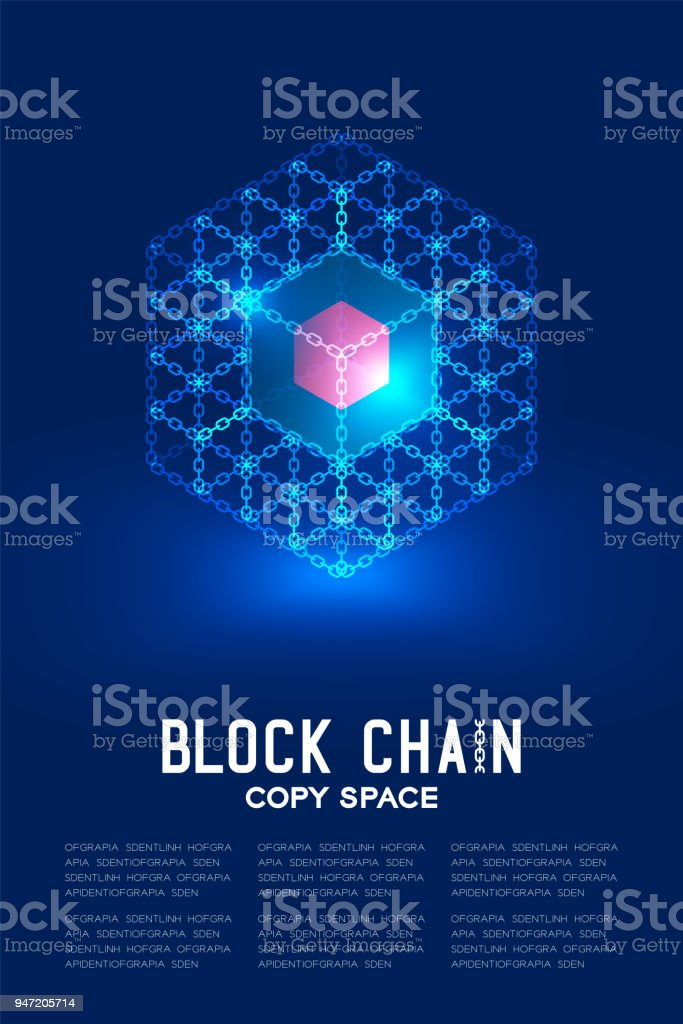 Blockchain technology 3D isometric virtual, system online concept design illustration isolated on dark blue background and Blockchain Text with copy space, vector eps 10 vector art illustration