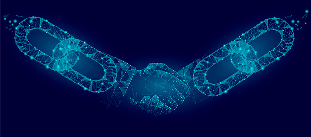 Blockchain Technology Agreement Handshake Business Concept Low Poly Polygonal Point Line Geometric Design Hands Chain Link Internet Hyperlink Connection Blue Vector Illustration Stock Illustration - Download Image Now