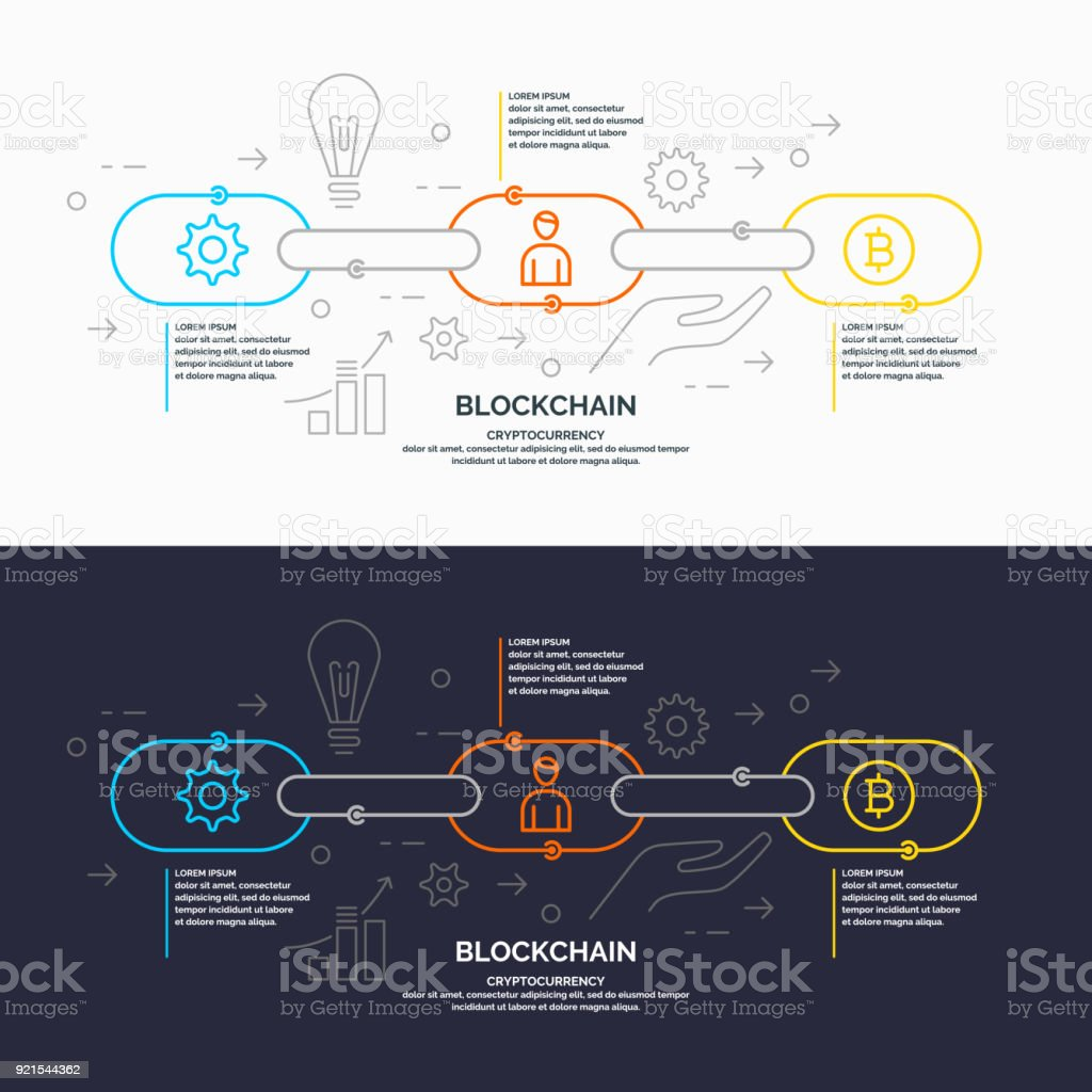 Blockchain technology and cryptocurrency vector art illustration